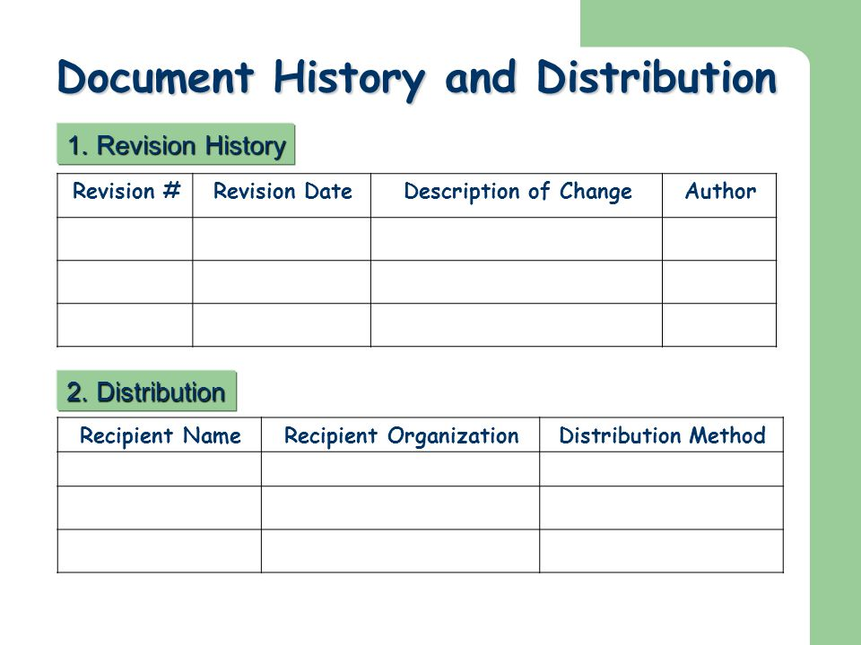Document History and Distribution
