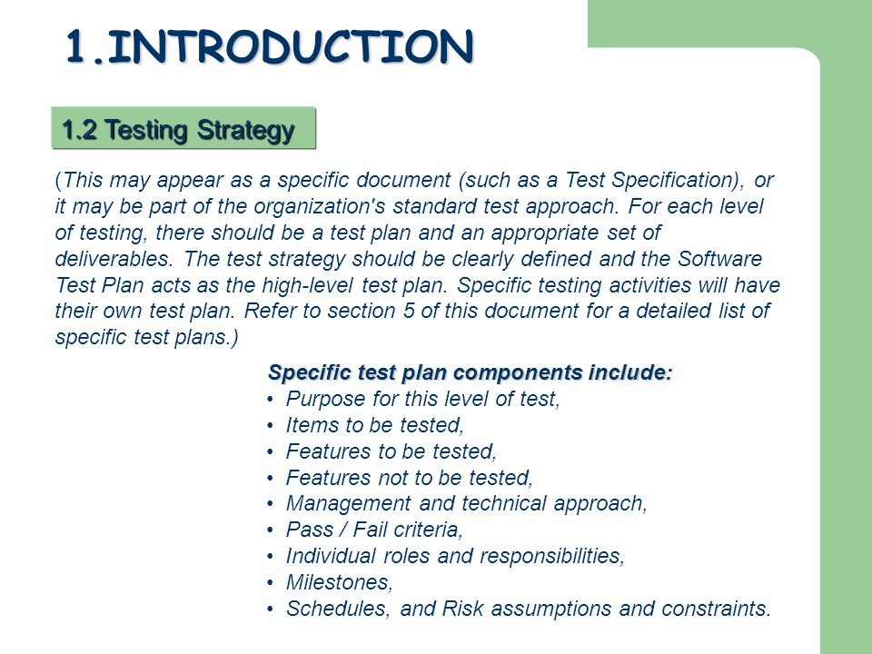 1.INTRODUCTION 1.2 Testing Strategy