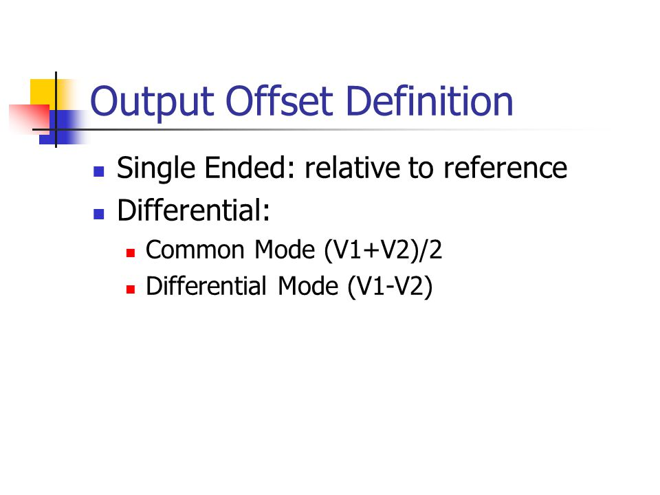 Output Offset Definition