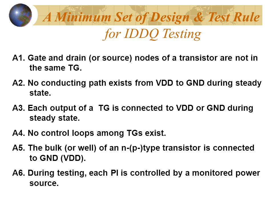 A Minimum Set of Design & Test Rule for IDDQ Testing