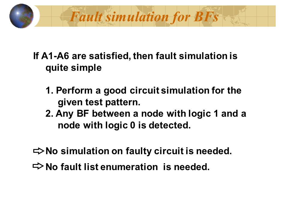 Fault simulation for BFs