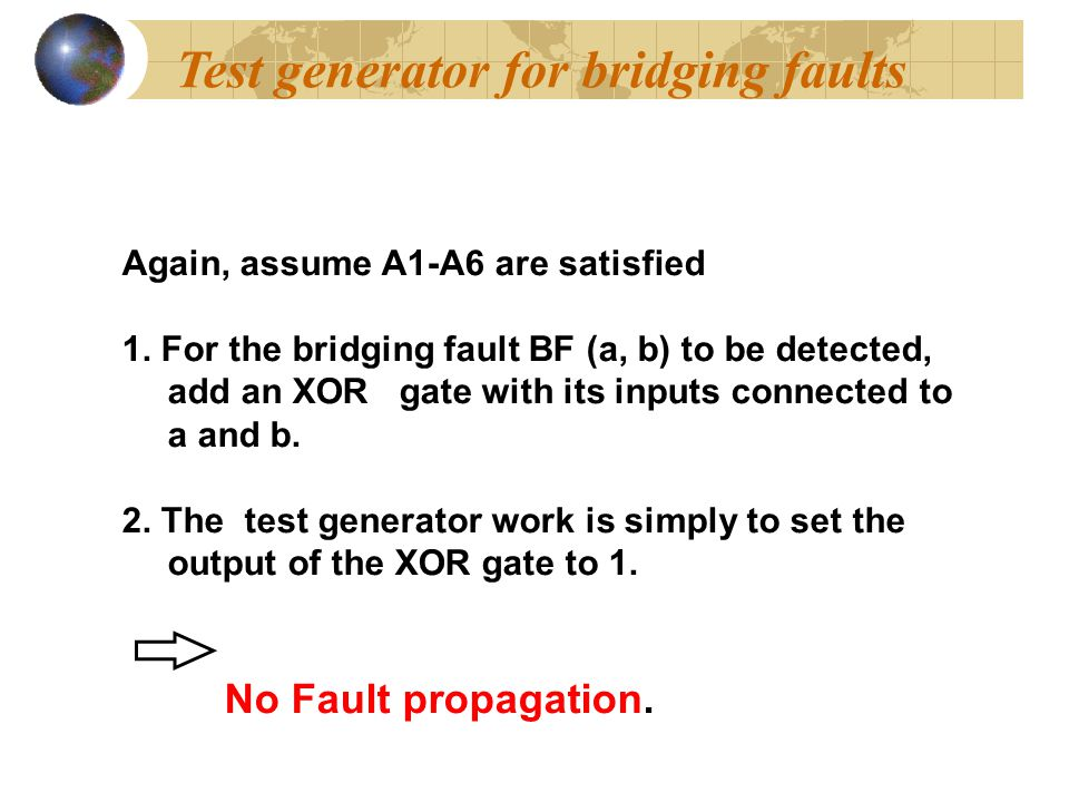 Test generator for bridging faults