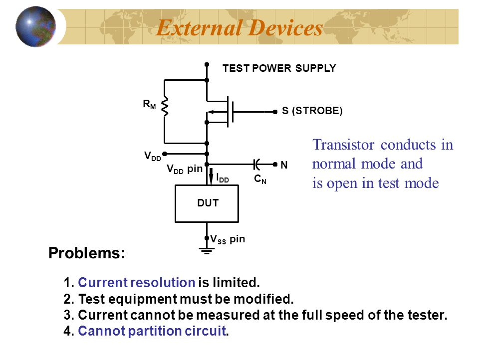 External Devices Transistor conducts in normal mode and