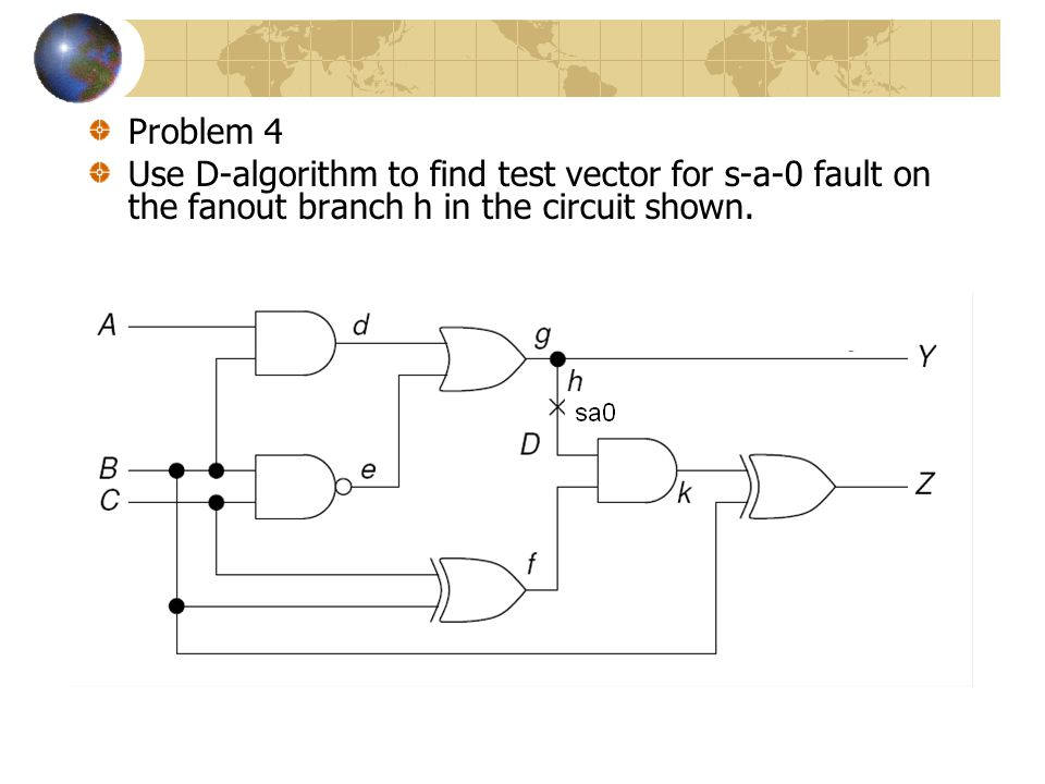 Problem 4 Use D-algorithm to find test vector for s-a-0 fault on the fanout branch h in the circuit shown.