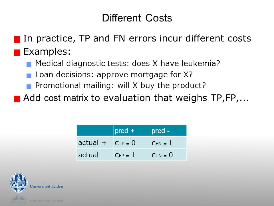 Different Costs In practice, TP and FN errors incur different costs