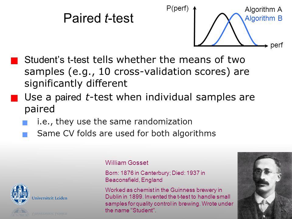 32 Paired t-test. P(perf) Algorithm A. Algorithm B. perf.