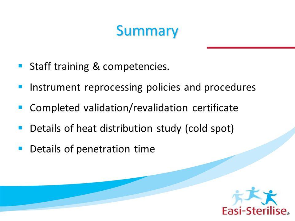 Summary Staff training & competencies.