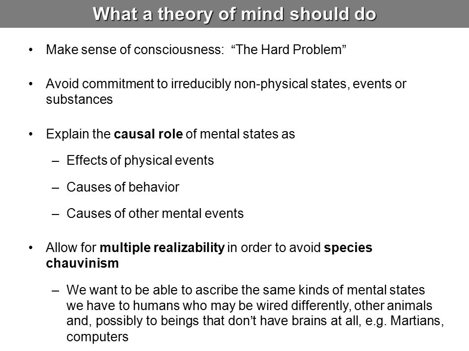 What a theory of mind should do