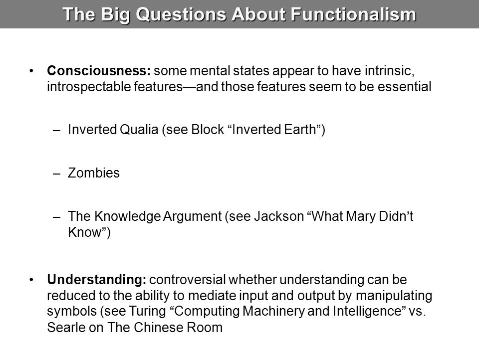 The Big Questions About Functionalism