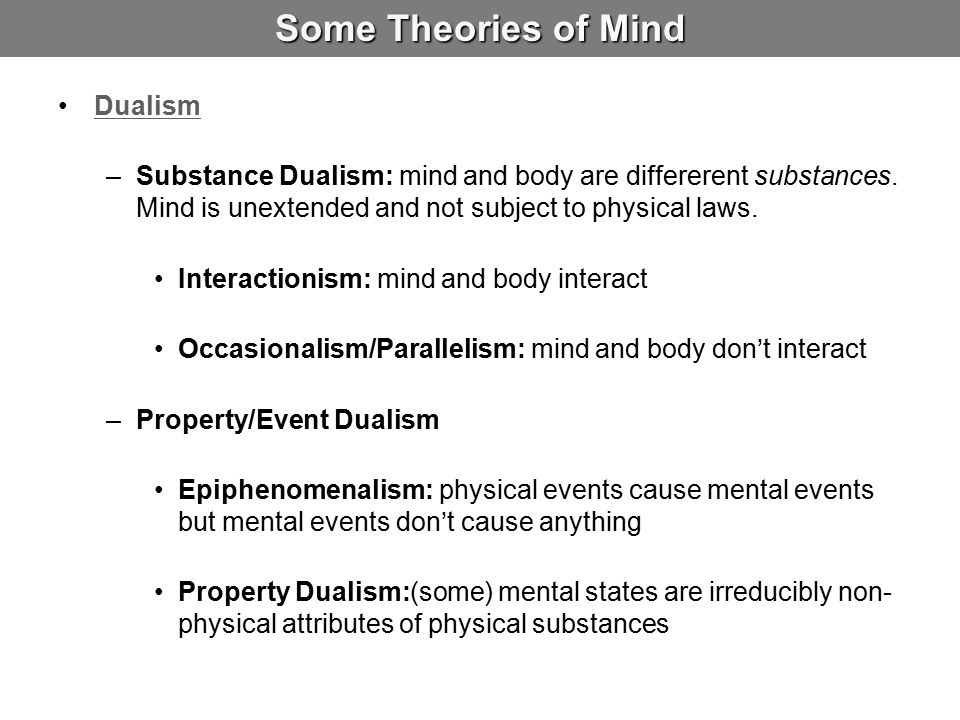 Some Theories of Mind Dualism