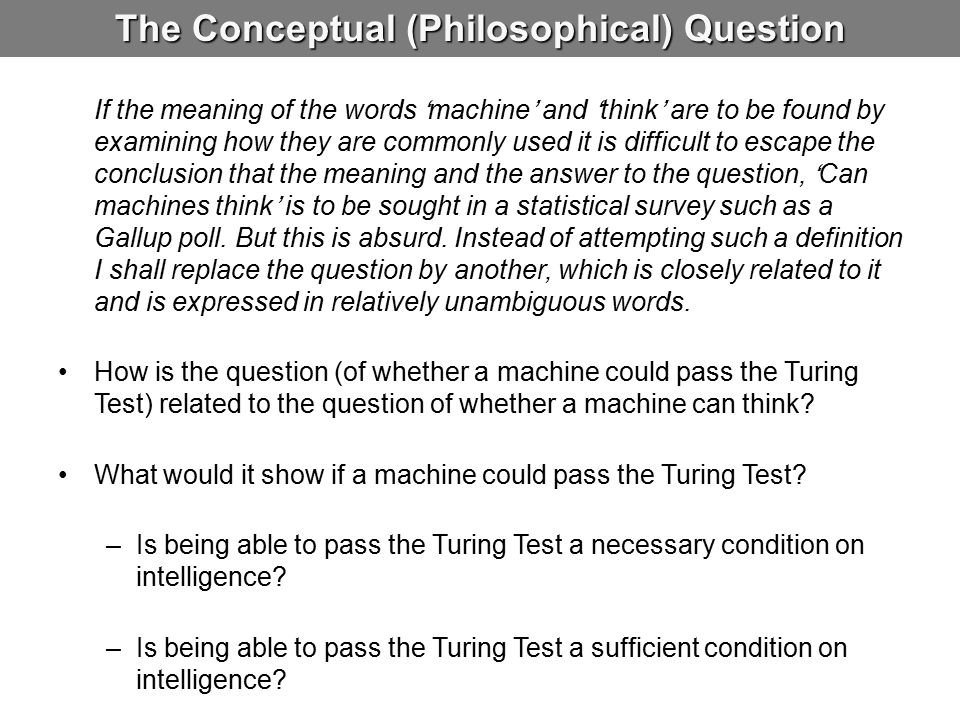 The Conceptual (Philosophical) Question