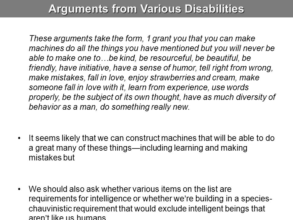 Arguments from Various Disabilities