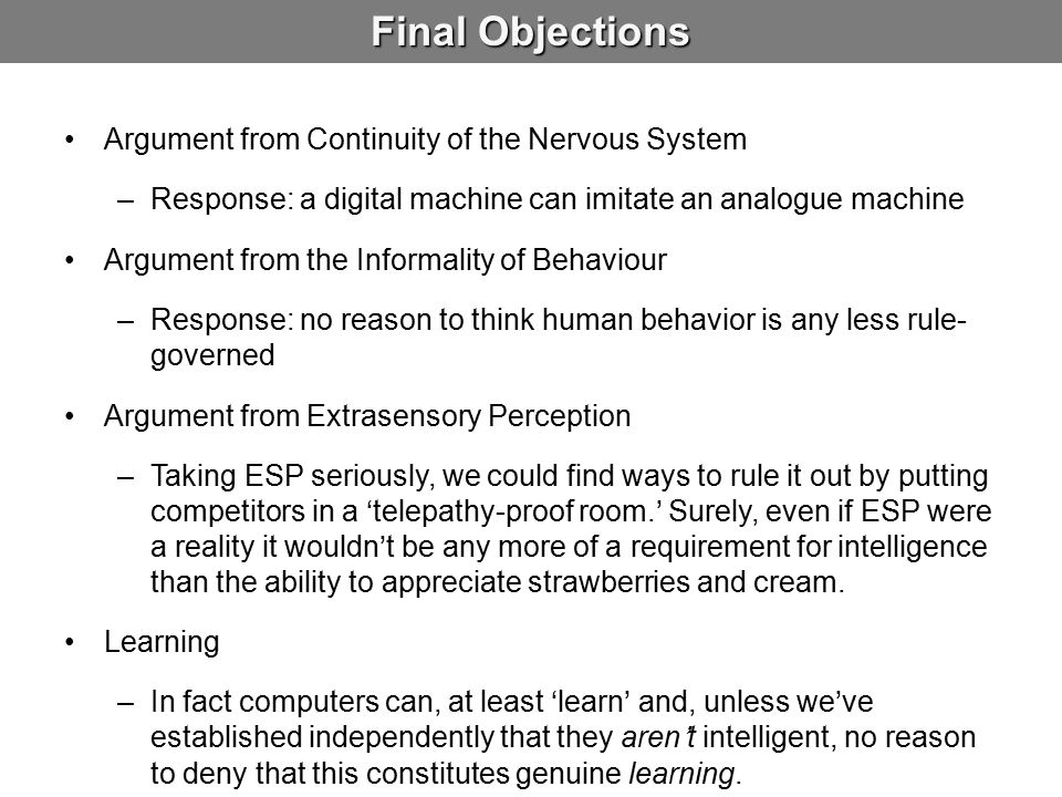 Final Objections Argument from Continuity of the Nervous System