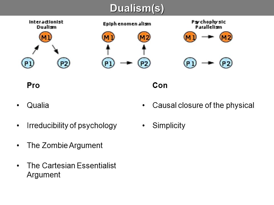 Dualism(s) Pro Qualia Irreducibility of psychology The Zombie Argument