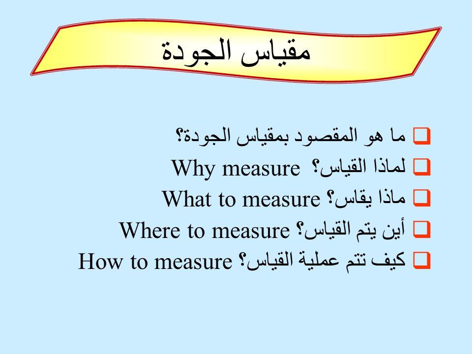 مقياس الجودة ما هو المقصود بمقياس الجودة؟ لماذا القياس؟ Why measure