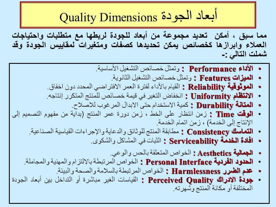 أبعاد الجودة Quality Dimensions