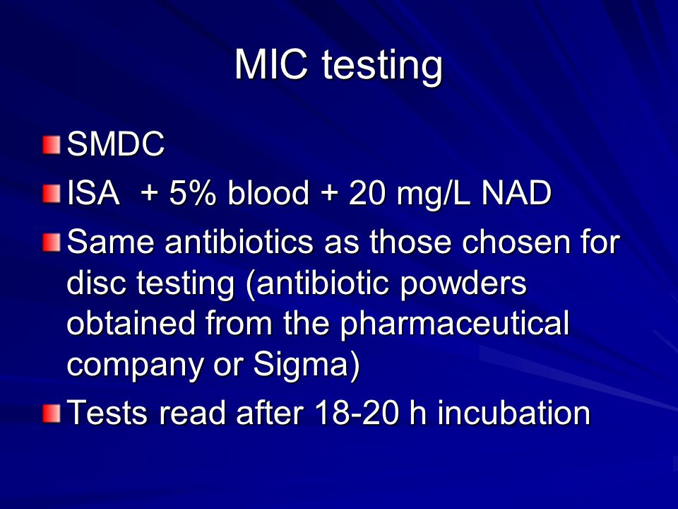 MIC testing SMDC ISA + 5% blood + 20 mg/L NAD