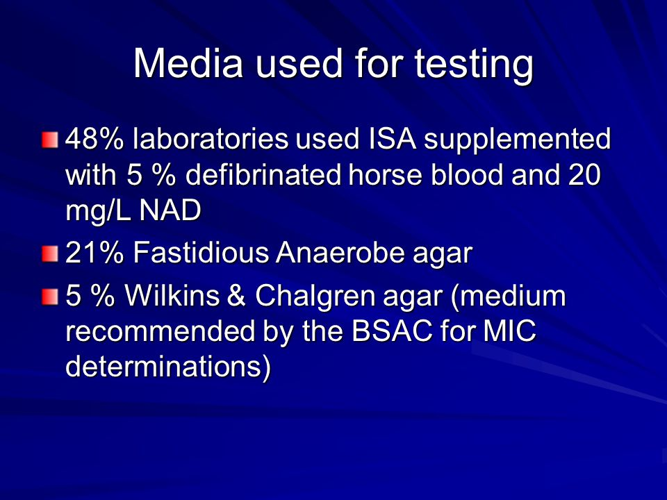 Media used for testing 48% laboratories used ISA supplemented with 5 % defibrinated horse blood and 20 mg/L NAD.