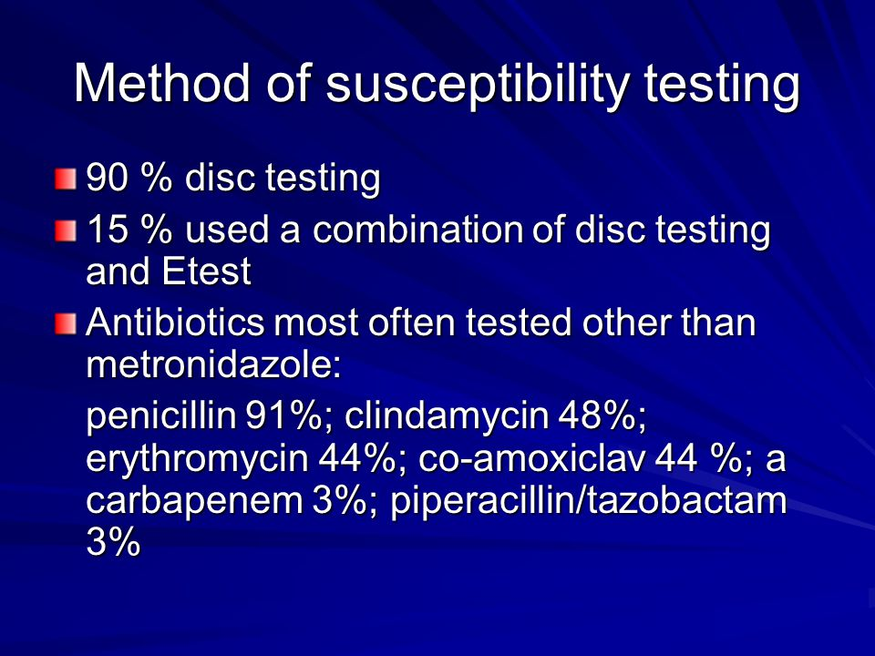 Method of susceptibility testing