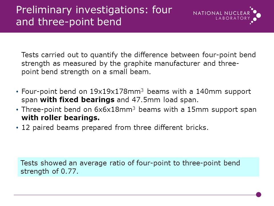 Preliminary investigations: four and three-point bend