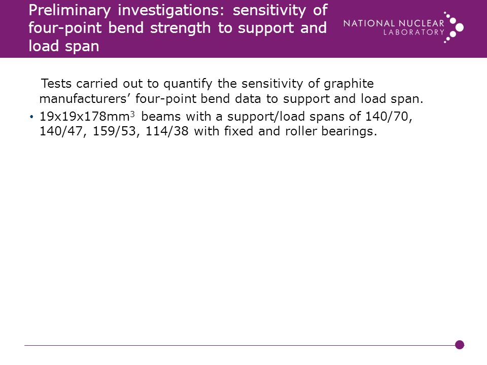 Preliminary investigations: sensitivity of four-point bend strength to support and load span