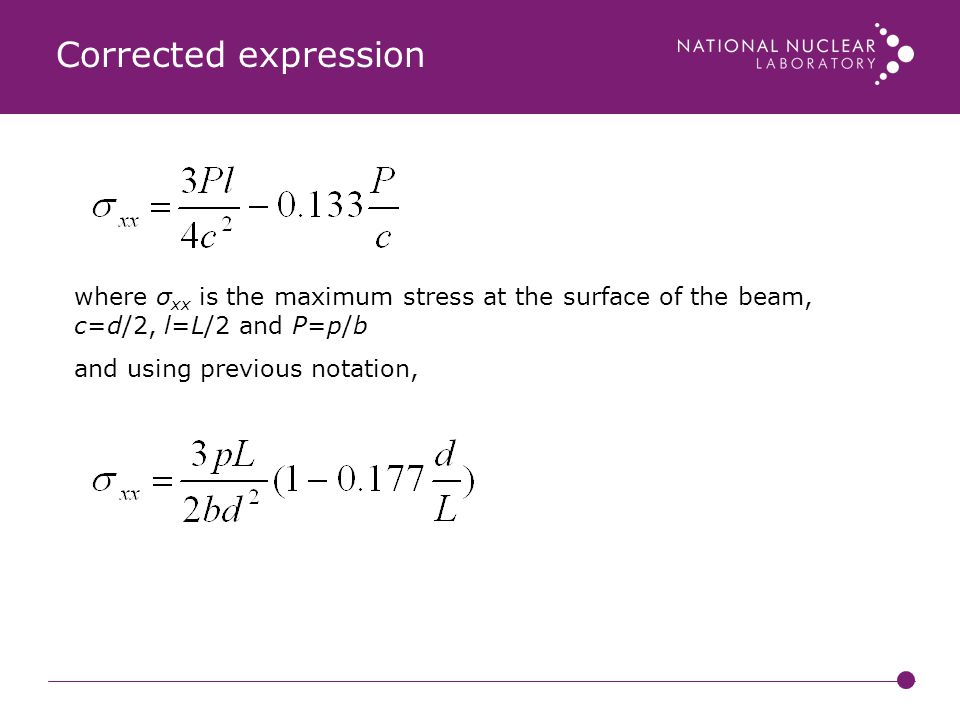 Corrected expression where σxx is the maximum stress at the surface of the beam, c=d/2, l=L/2 and P=p/b.