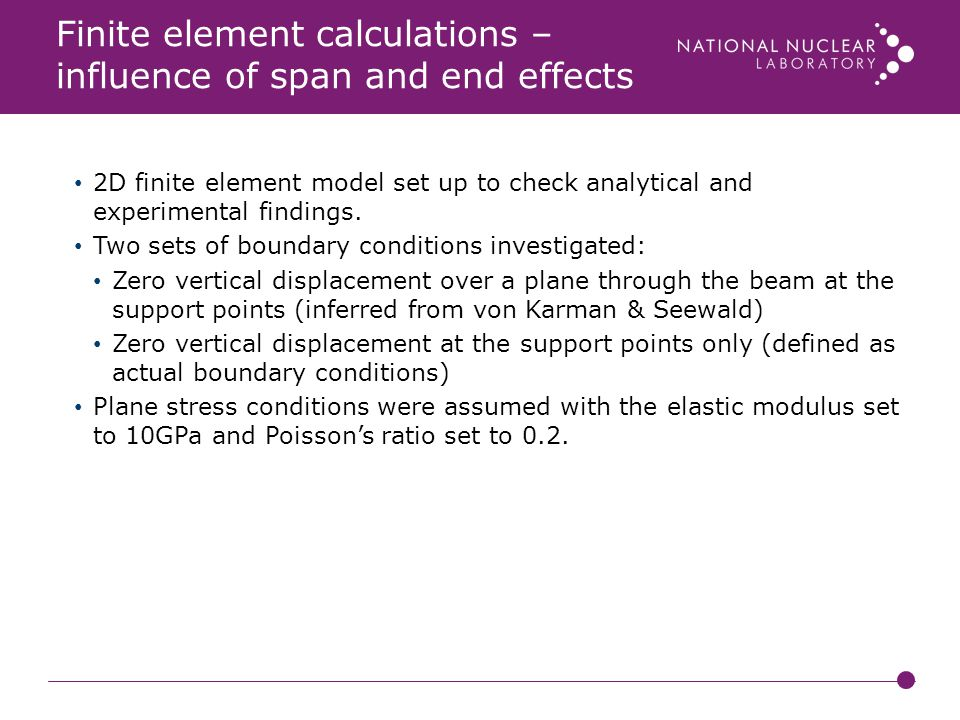Finite element calculations – influence of span and end effects