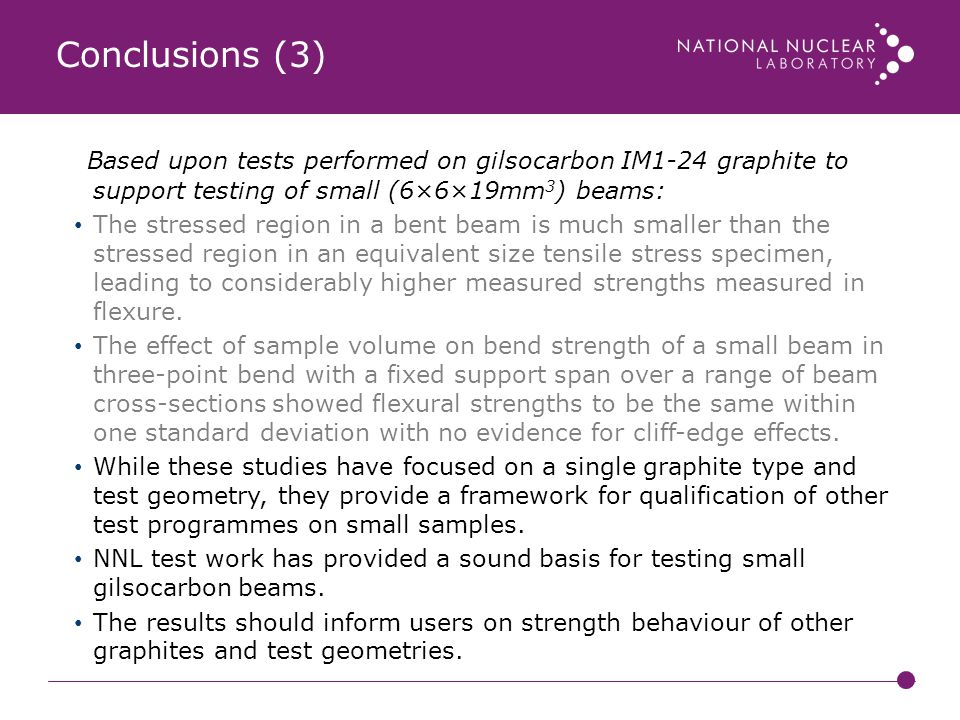 Conclusions (3) Based upon tests performed on gilsocarbon IM1-24 graphite to support testing of small (6×6×19mm3) beams: