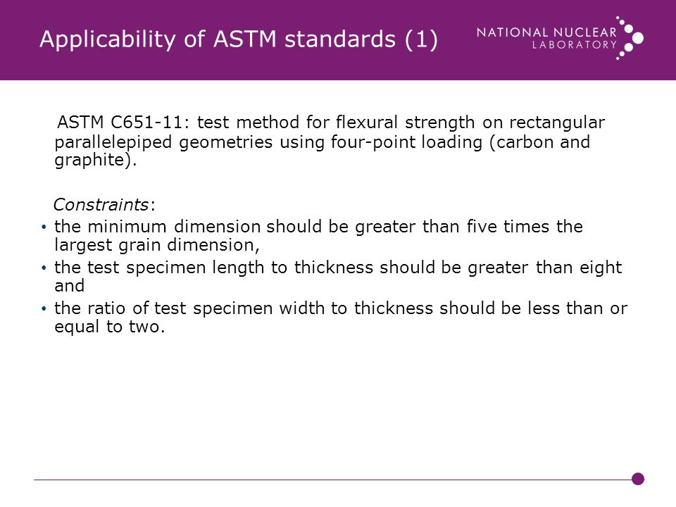 Applicability of ASTM standards (1)