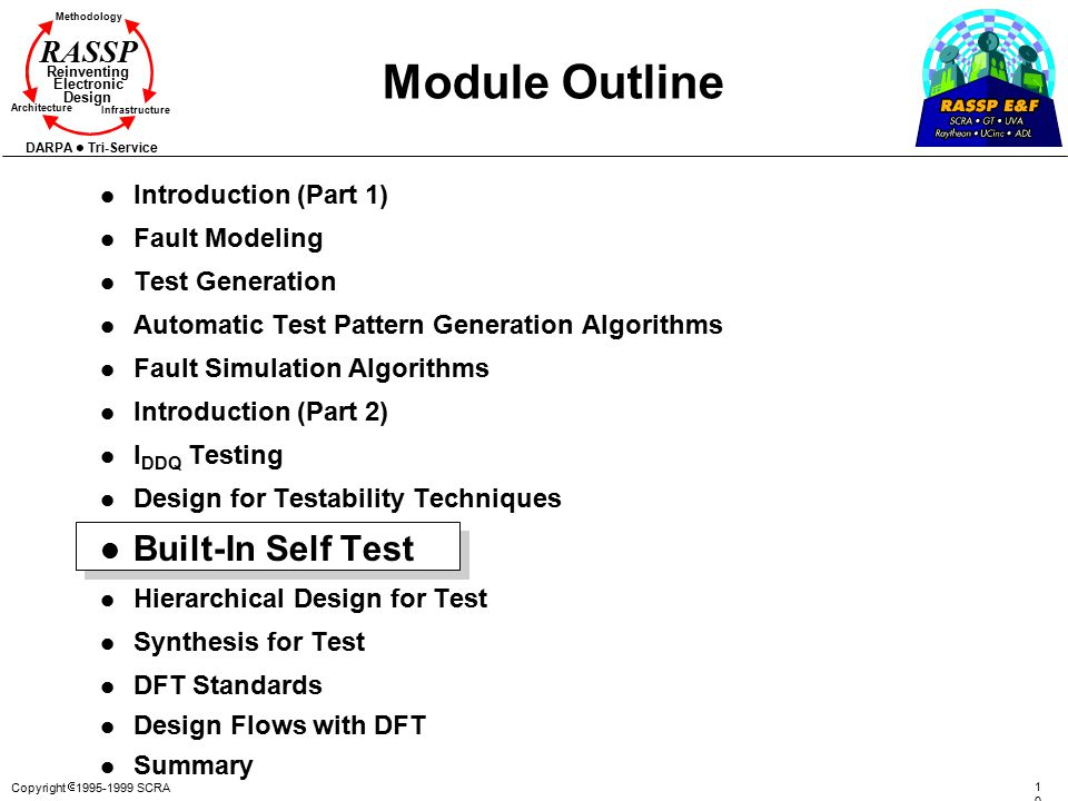 Module Outline Built-In Self Test Introduction (Part 1) Fault Modeling