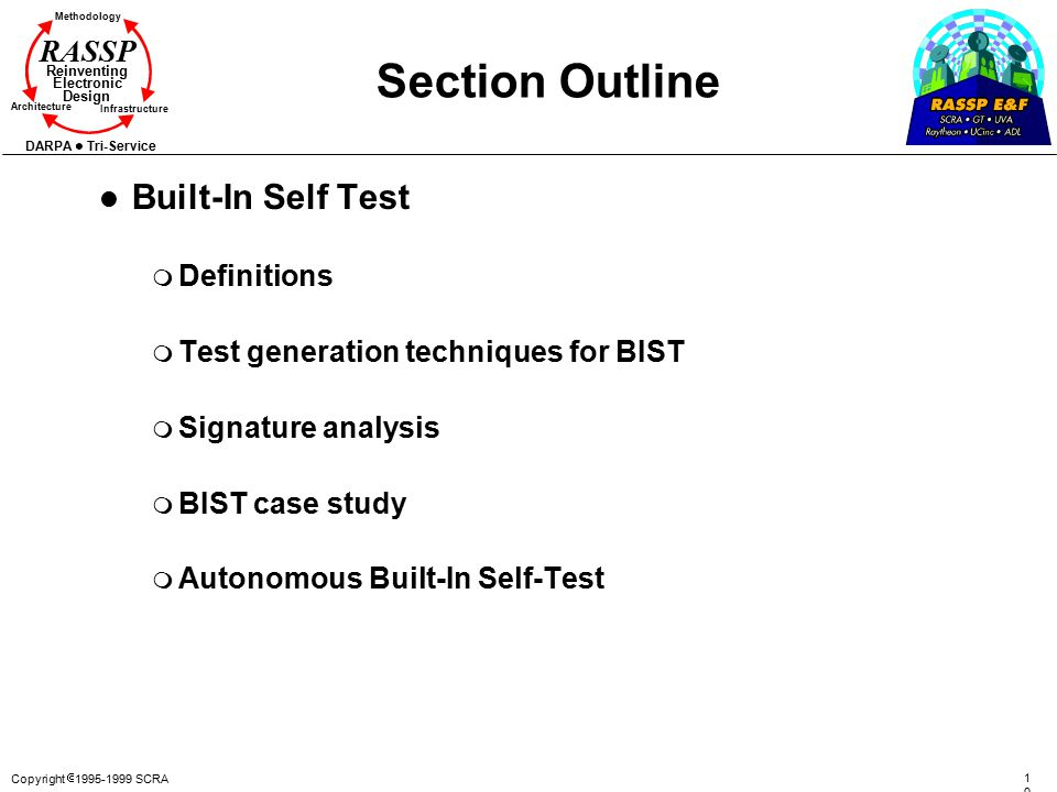 Section Outline Built-In Self Test Definitions