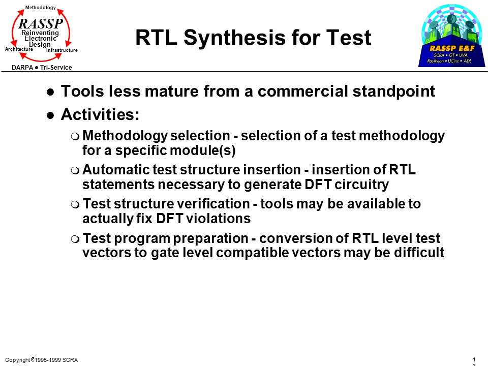 RTL Synthesis for Test Tools less mature from a commercial standpoint