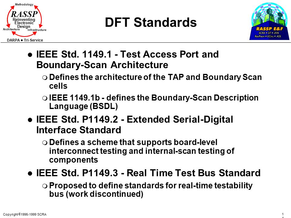 DFT Standards IEEE Std. 1149.1 - Test Access Port and Boundary-Scan Architecture. Defines the architecture of the TAP and Boundary Scan cells.