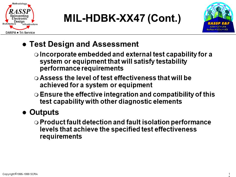 MIL-HDBK-XX47 (Cont.) Test Design and Assessment Outputs