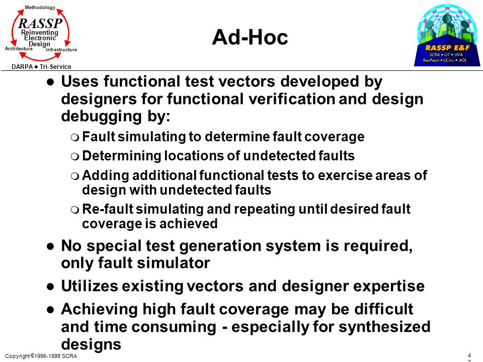 Ad-Hoc Uses functional test vectors developed by designers for functional verification and design debugging by: