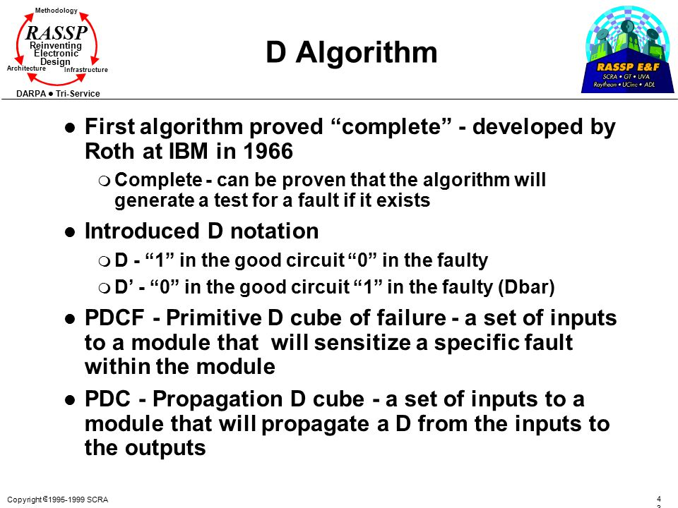 D Algorithm First algorithm proved complete - developed by Roth at IBM in 1966.