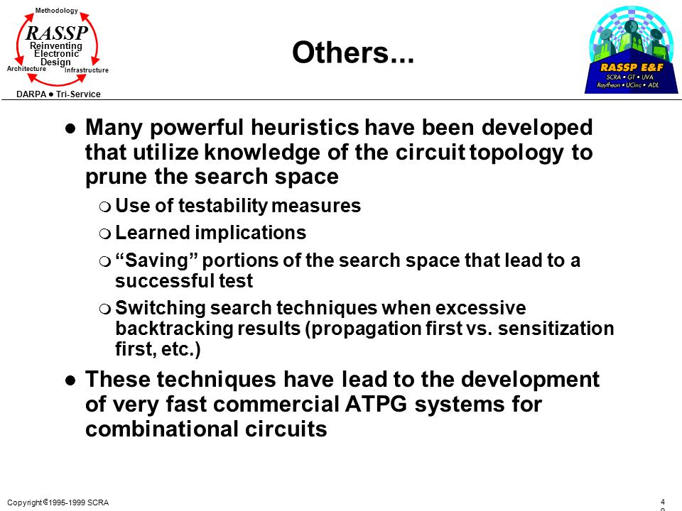 Others... Many powerful heuristics have been developed that utilize knowledge of the circuit topology to prune the search space.