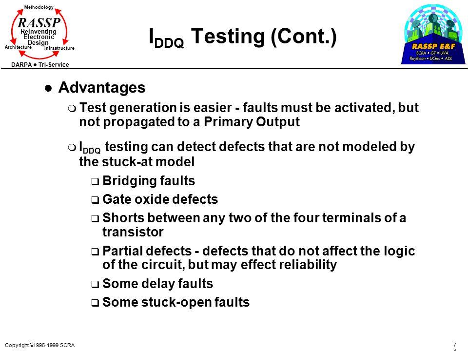 IDDQ Testing (Cont.) Advantages