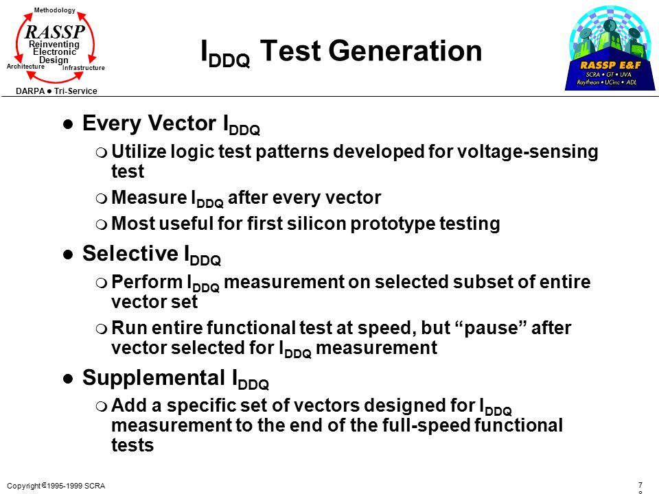 IDDQ Test Generation Every Vector IDDQ Selective IDDQ