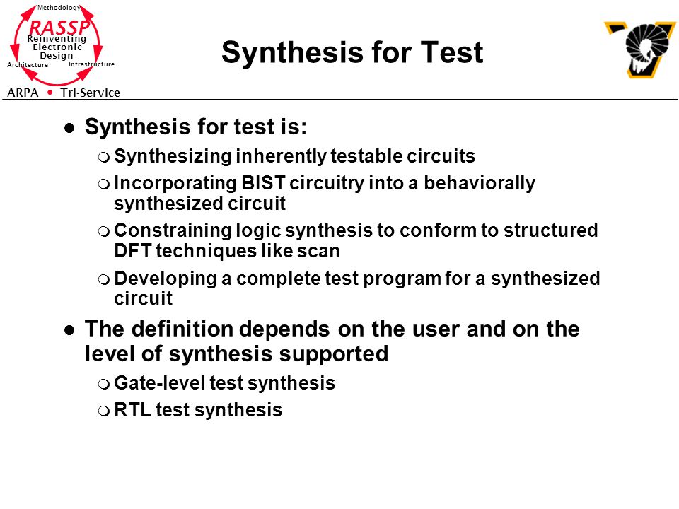 Synthesis for Test Synthesis for test is:
