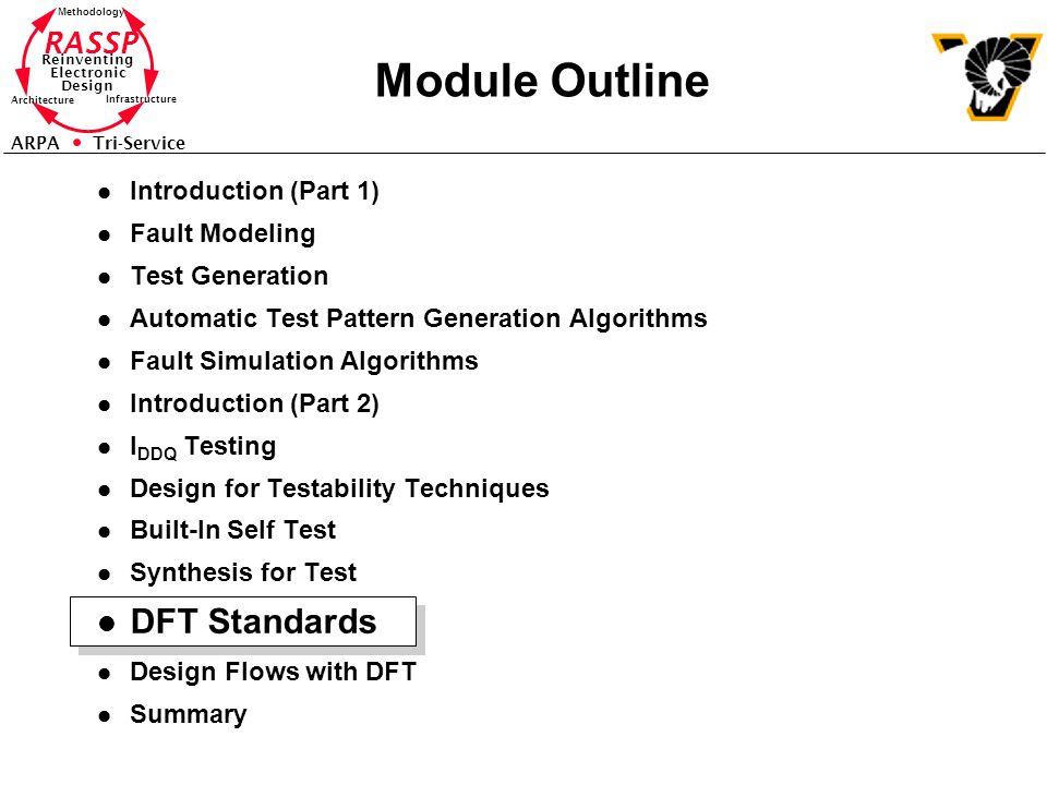 Module Outline DFT Standards Introduction (Part 1) Fault Modeling