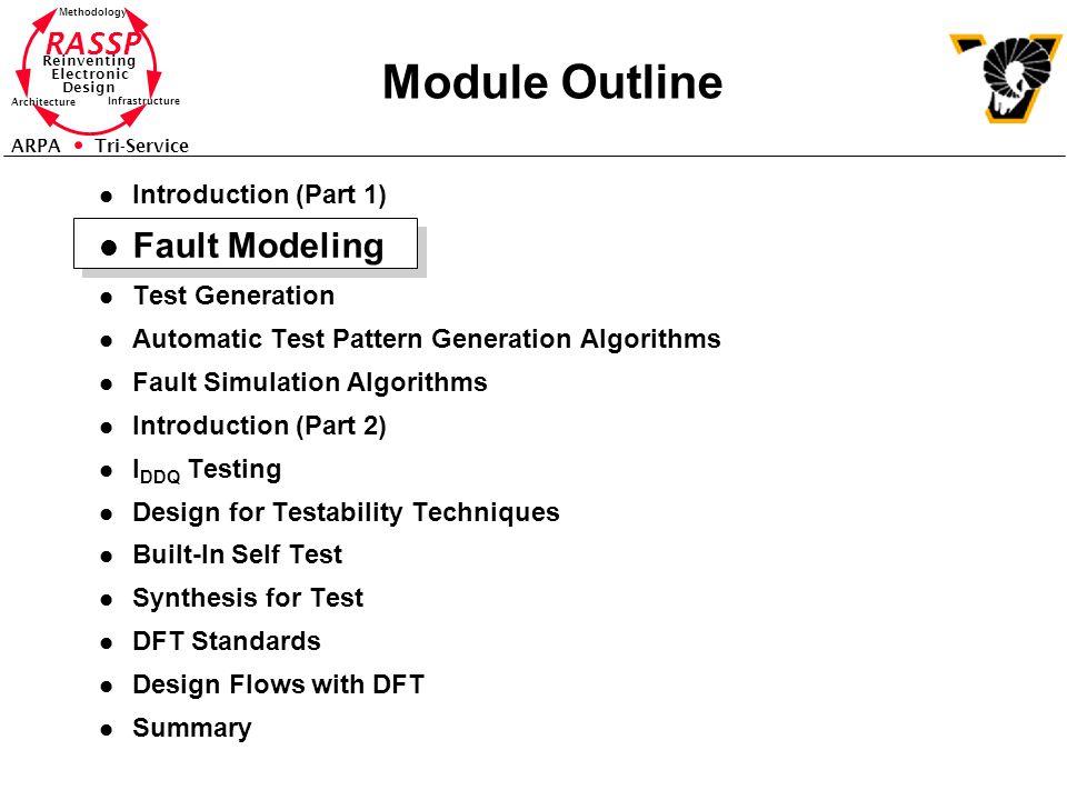 Module Outline Fault Modeling Introduction (Part 1) Test Generation