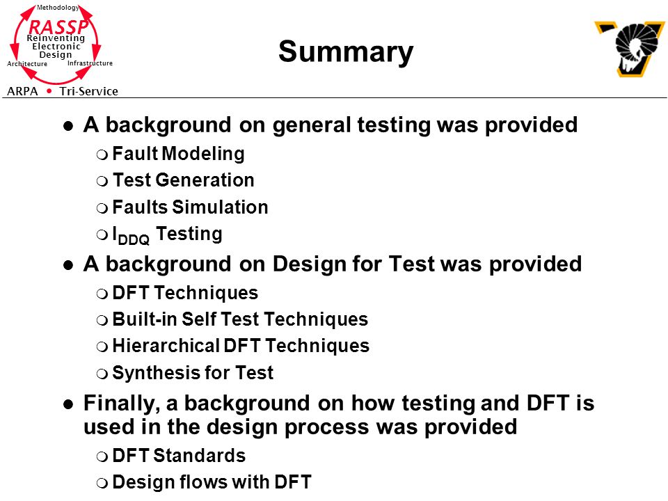 Summary A background on general testing was provided
