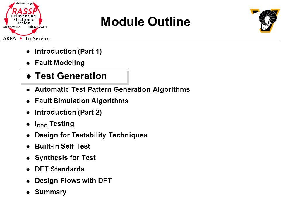 Module Outline Test Generation Introduction (Part 1) Fault Modeling