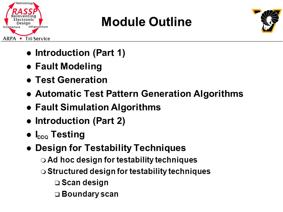 Module Outline Introduction (Part 1) Fault Modeling Test Generation