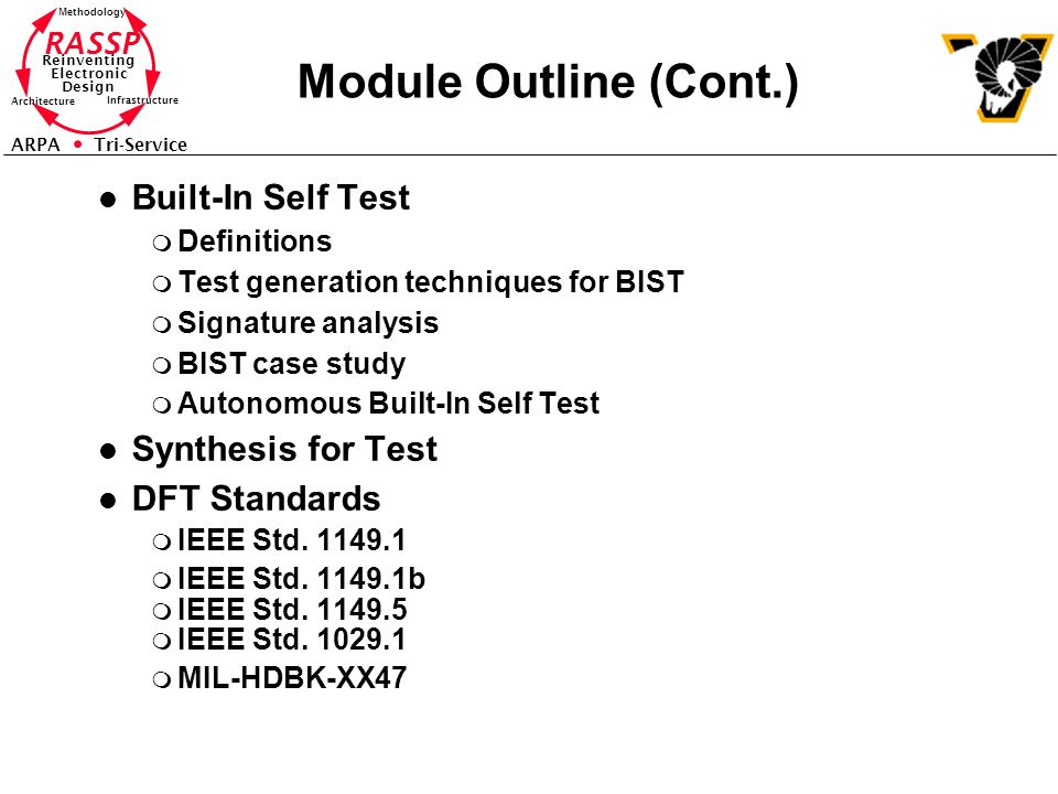 Module Outline (Cont.) Built-In Self Test Synthesis for Test