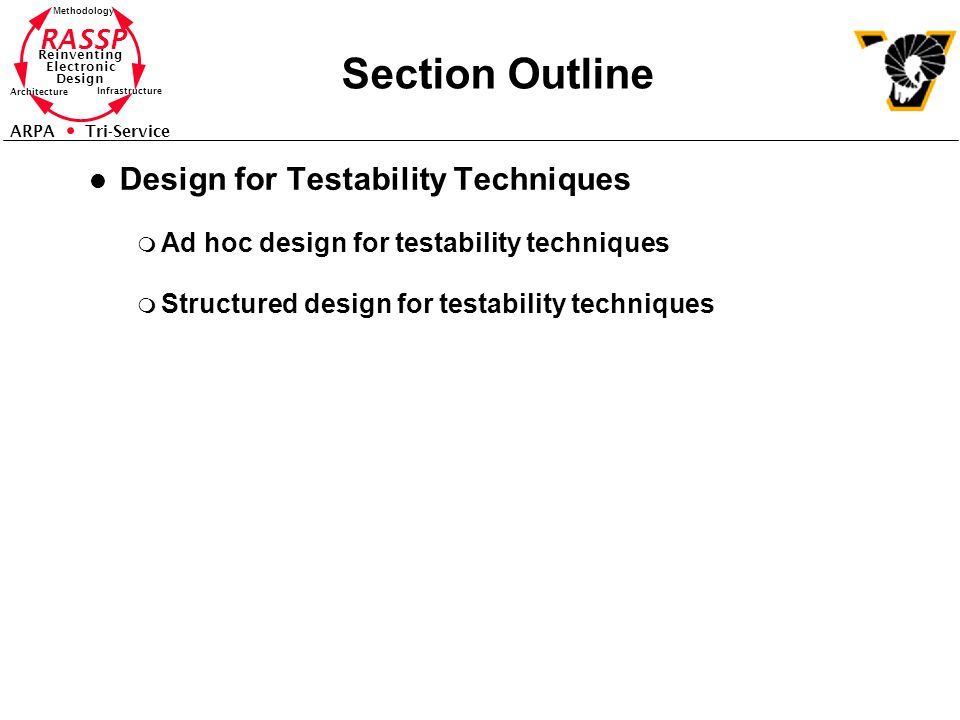 Section Outline Design for Testability Techniques
