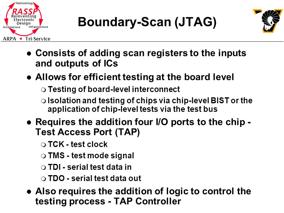 Boundary-Scan (JTAG) Consists of adding scan registers to the inputs and outputs of ICs. Allows for efficient testing at the board level.