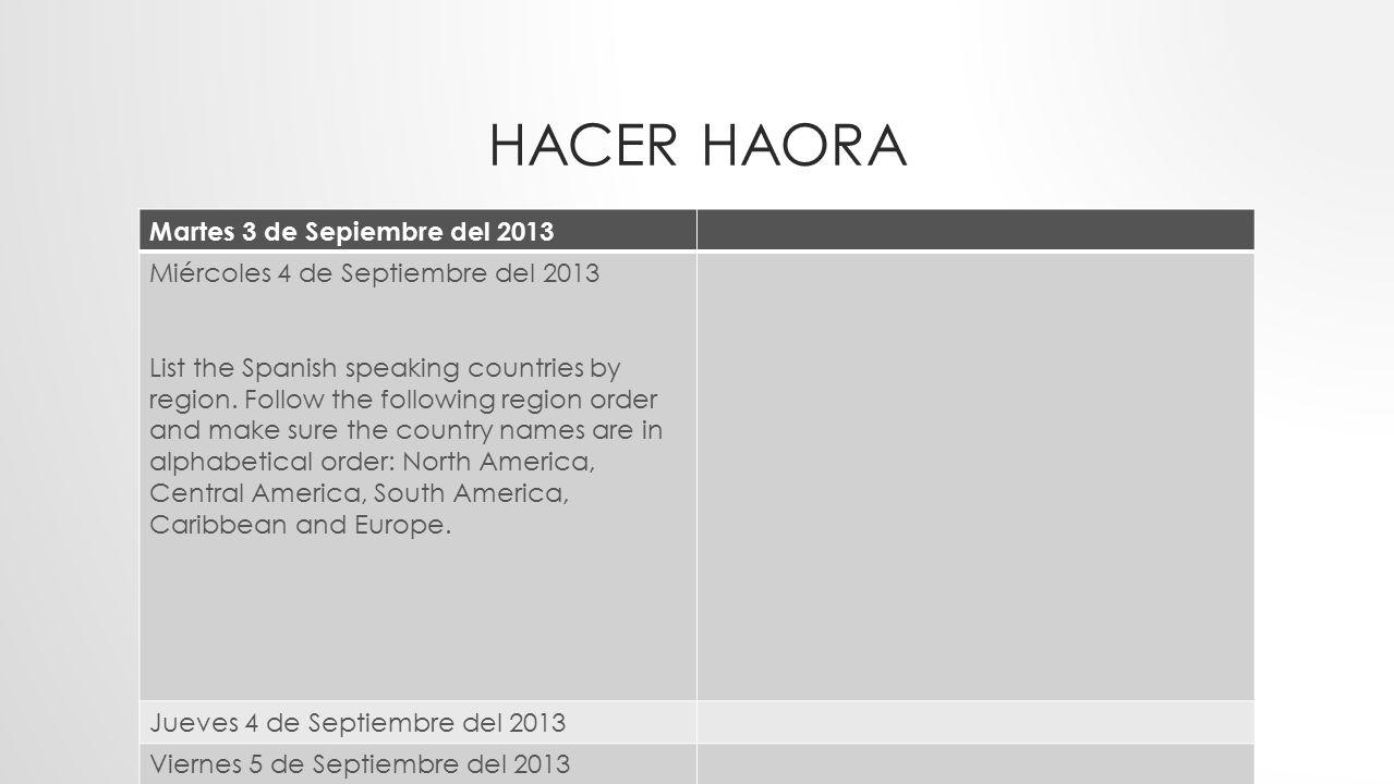 Hacer Haora Martes 3 de Sepiembre del 2013