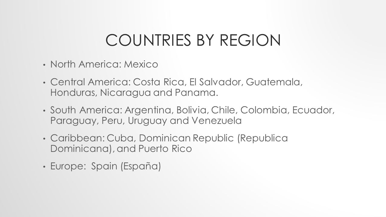 Countries by Region North America: Mexico